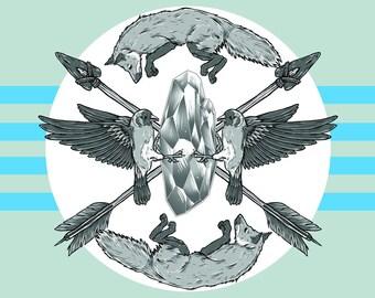 "Lucid Flight 11"" x 17"" Art Print, Fine Art Print, Lowbrow Art, Fox, Crystal, Bird, Arrow, Symbolism, Digital Art"