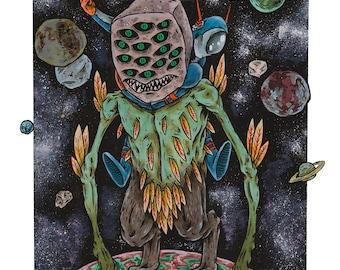 "Space Rider 11"" x 17"" Art Print, Fine Art Print, Lowbrow Art, Alien Monster in Space, Horror, Galaxy, Stars, Sci-Fi, Science Fiction"