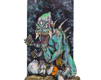 "Knuckle Sandwiches 11"" x 17"" Art Print, Fine Art Print, Lowbrow Art, Alien Monster in Space, Horror, Galaxy, Stars, Sci-Fi, Science Fiction"