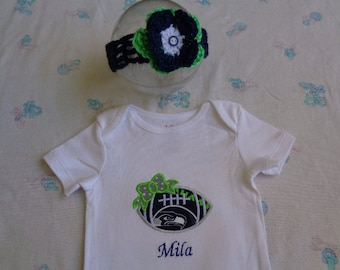 Personalized Seattle Seahawks Baby Girl Onesie and Headband 70e151245