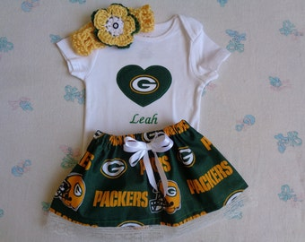 134883db572 Green Bay Packers Personalized Baby Girl Onesie