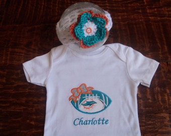 Personalized Miami Dolphins Baby Girl Onesie and Headband 03c565628