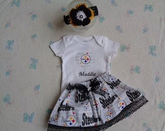pittsburgh steelers Personalized Baby Girl Onesie a2ad9e9c9