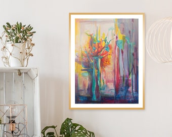 Vitality -- Limited Edition Wall Art Print, Vibrant Floral with Jewel Tones