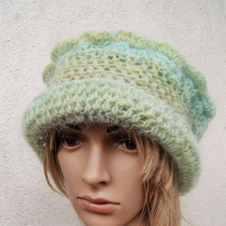 Thin wool hat asymmetrical patterns Unique clochefeminine  235cb11d564