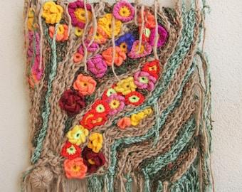 Mothers day idea gift , Painting, Tapestry, Crochet hook, freeform crochet, fiber art, wool, wall hanging, handmade spun