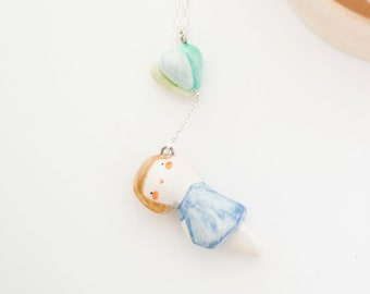 doll with balloons pendant - cold porcelain necklace by ploudoll