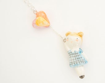 doll with balloons - cold porcelain pendant handmade by ploudoll