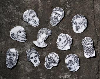 Pin Classical sculptures - Historical - ART pins - Antique brooch - Classical pins - Classical brooch - David - Antinous - Draw - Academic