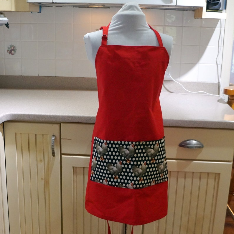 In Red with a Bold Chicken Print Pocket Apron Kitchen Apron Double pockets