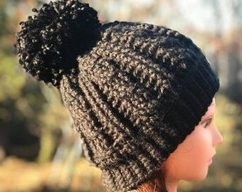 Black Cable Stitch Crochet Hat