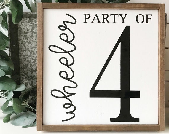 Party of family sign - personalized family sign - number sign - farmhouse decor - housewarming gift