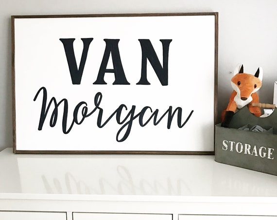 Nursery sign - personalized name sign - baby boy - baby girl - baby shower - wooden sign