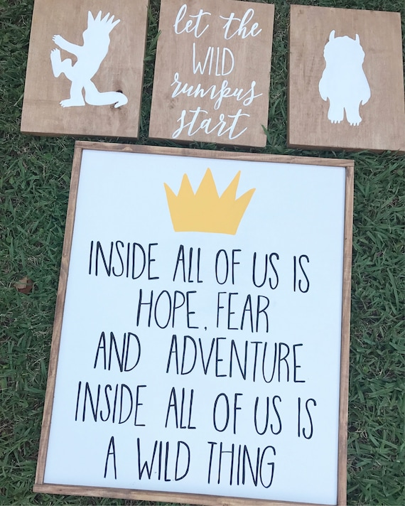 Where the wild things are - let the wild rumpus start - nursery - wild things nursery - wood sign - nursery decor