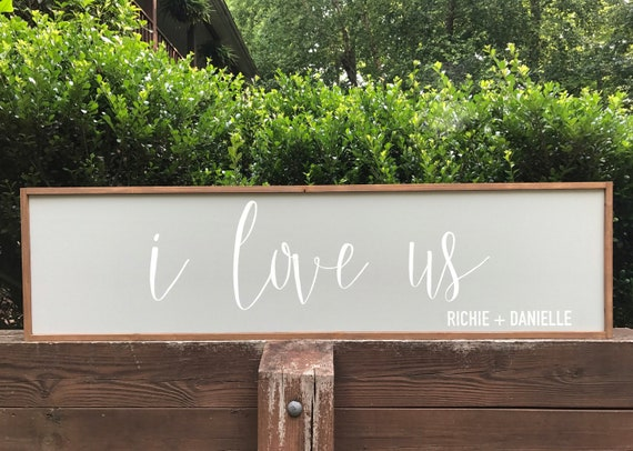 I love us - bedroom sign - personalized sign - wedding - wood sign