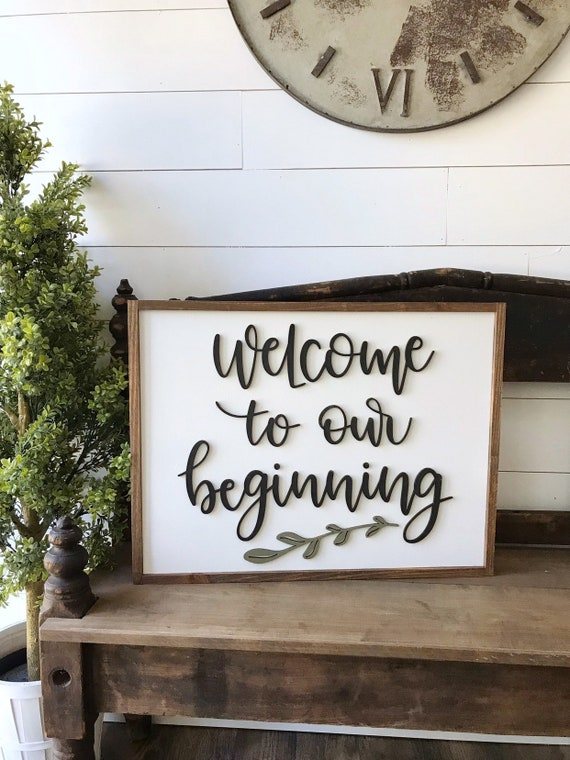 Welcome to our beginning - 3d sign - laser sign - home decor sign - wedding sign - bridal shower - wooden sign
