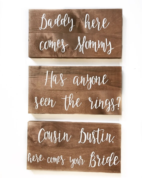 Wedding signs - gift table sign - best day ever - daddy here comes mommy
