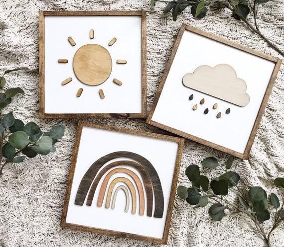 Nursery signs - sun sign - rain cloud sign - rainbow sign - earthy tones