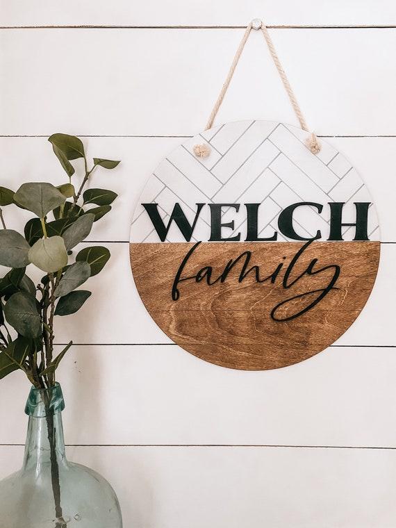 Personalized family sign - name sign - door hanger - last name door hanger
