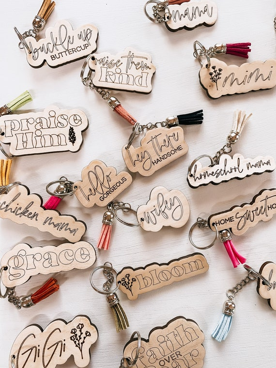 Wooden keychain - keychain tassel - keychains - engraved keychain - personalized keychain