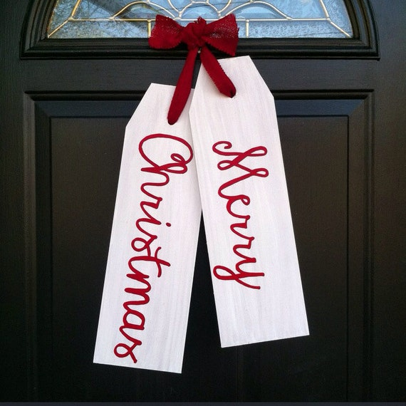 Front Door Decoration - Merry Christmas Door Decor - Christmas Door Tags - Door Hanger