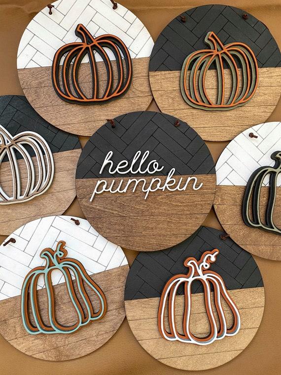 Pumpkin sign - pumpkin round - mini pumpkins   - hanging fall decor - fall sign