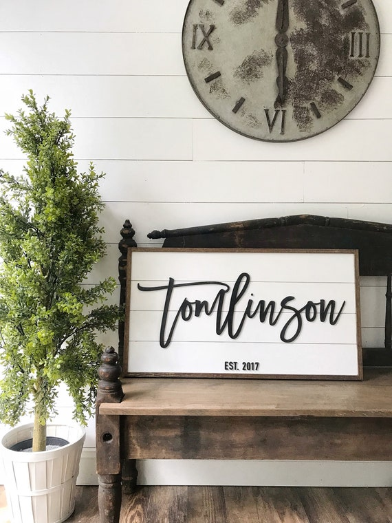 Personalized sign - 3D wood sign - last name sign -shiplap sign