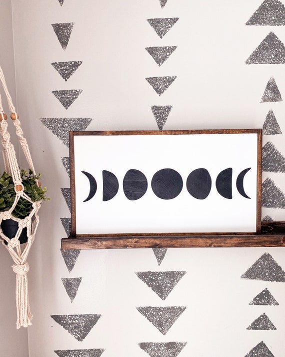 Moon phases sign - moon sign - 3D sign - wood sign - boys room sign - nursery sign