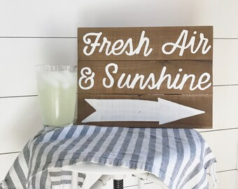 Fresh air and sunshine - wood sign - spring sign - summer sign - porch sign