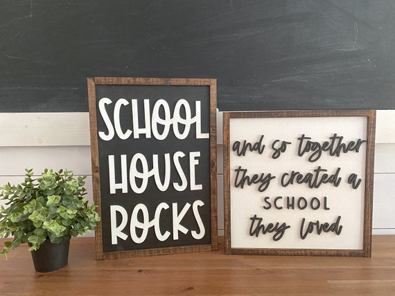 School house rocks - and so together they built a school they loved - 3D laser sign - homeschool sign - virtual learning