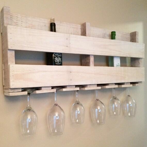 Wine Rack - Wine Glass Holder - Rustic Wine Rack - Pallet Wine Rack - Reclaimed Wood Rack -