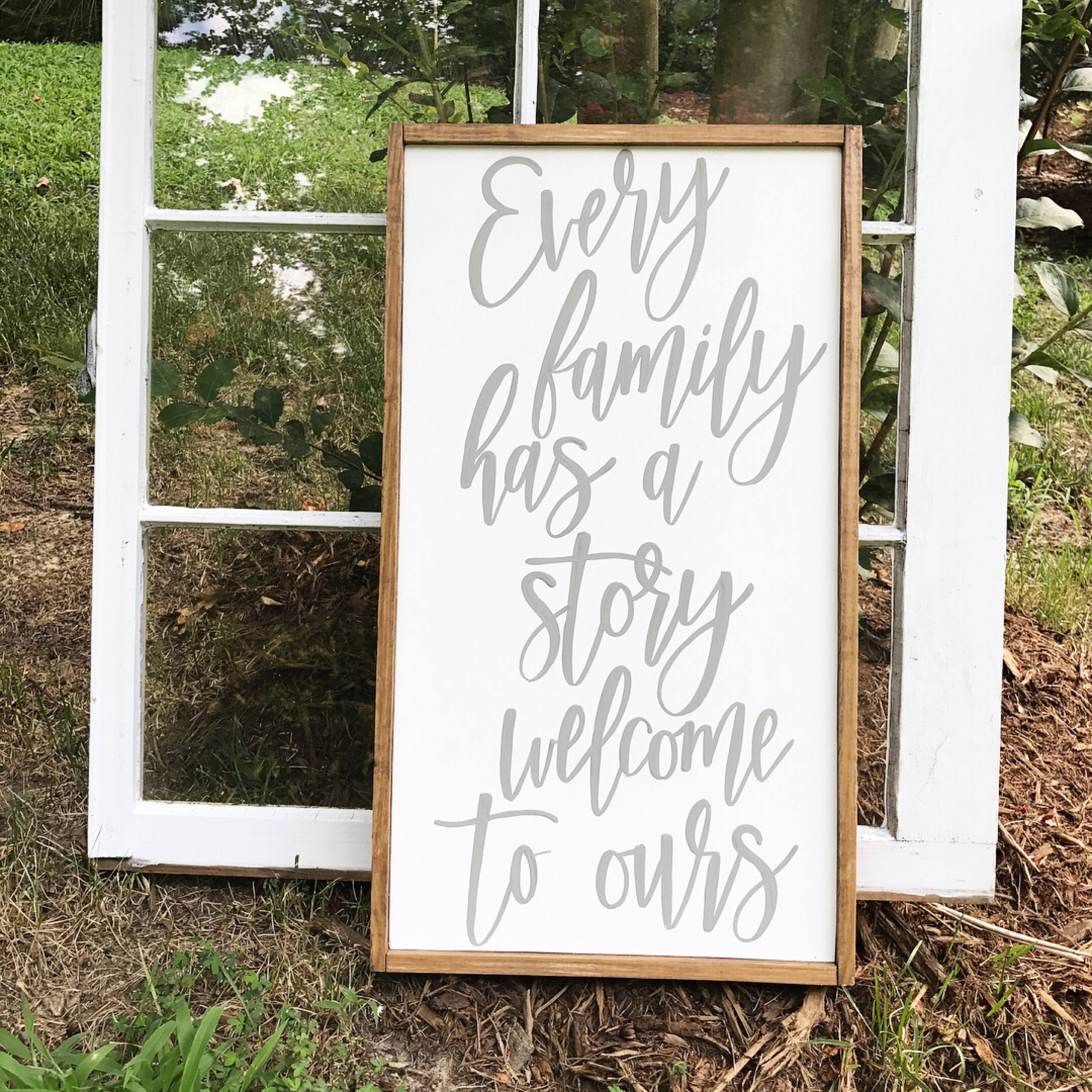 Every family has a story welcome to ours - family sign - entryway ...