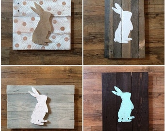 Easter Decor - Bunny Silhouette - Pallet Decor - Home Decor - Rustic Easter Decor