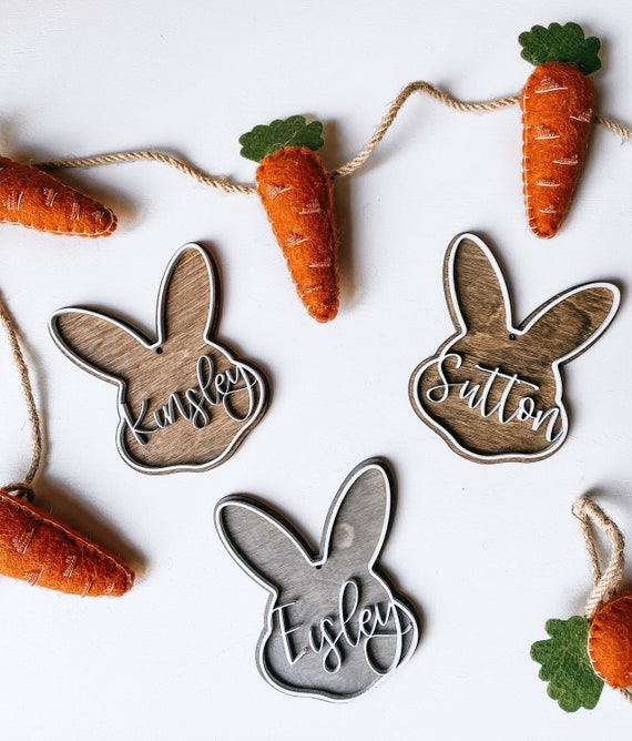 Easter basket tags - Easter tags - personalized Easter - kids Easter basket - wooden tag - laser cut - 3D