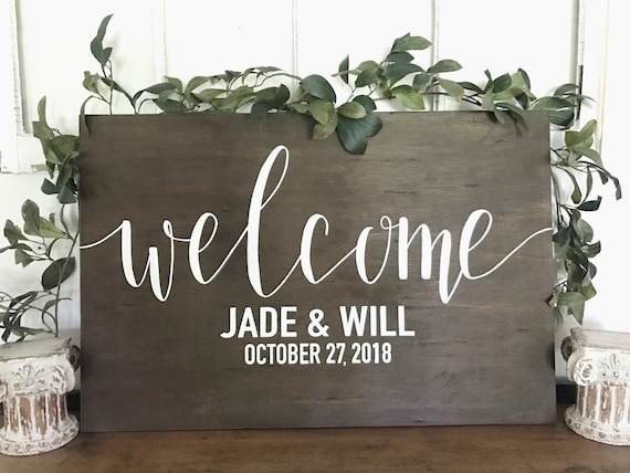 Welcome sign - wedding welcome - wedding sign - wood sign