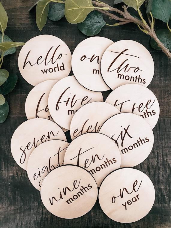 Baby milestone rounds - monthly milestones - baby birth announcement - baby shower - wooden round - engraved
