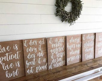 Wedding aisle signs - love is patient love is kind