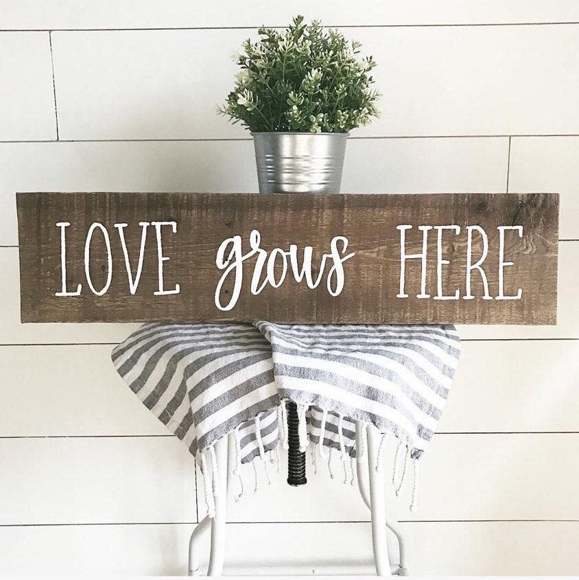 Love Grows Here sign~wood decor~3D art~wood sign~home decor~home decor sign~wood artwork~Love Grows Here decor~decor~love grows here