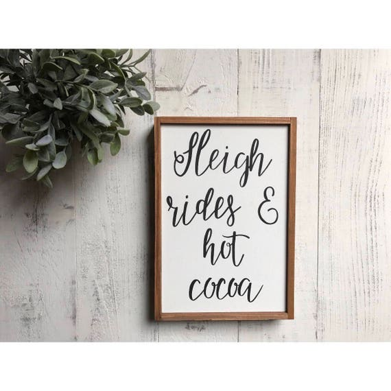 Sleigh rides and hot cocoa - christmas sign - winter sign - wood sign