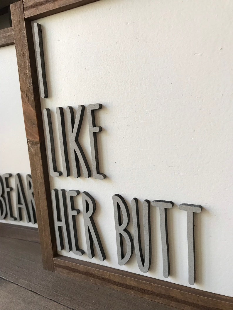 bridal shower beard and butt set wedding gift I like his beard I like her but signs home decor signs- wooden sign