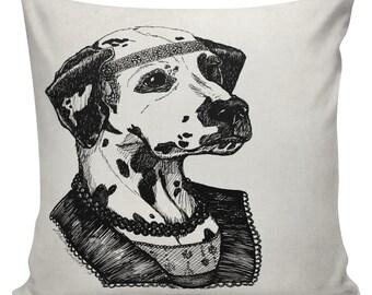 Dalmation Pillow Cover Cotton Canvas Throw Pillow 18 inch square Roaring 20s Dalmatian Esquiress #UE0339 Anthropomorphism