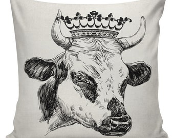 Novelty Pillow Cover Cotton Canvas Throw Pillow 18 inch square Cow with Crown UE-290 Urban Elliott