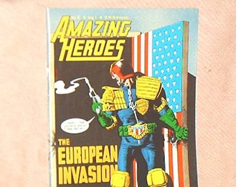 AMAZING HEROES, #52, Aug. '84, Comic Fanzine, newsprint Magazine, with Feature on History of Judge DREDD, Star Wars Story, and more...  Vg.