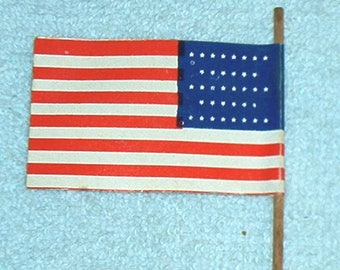 Vintage, MPC, Miniature, 36 Star U.S. FLAG (1865-1867), paper, 2-sided, w/wooden pole, Scaled to Fit most common Toy Soldiers, Exc.