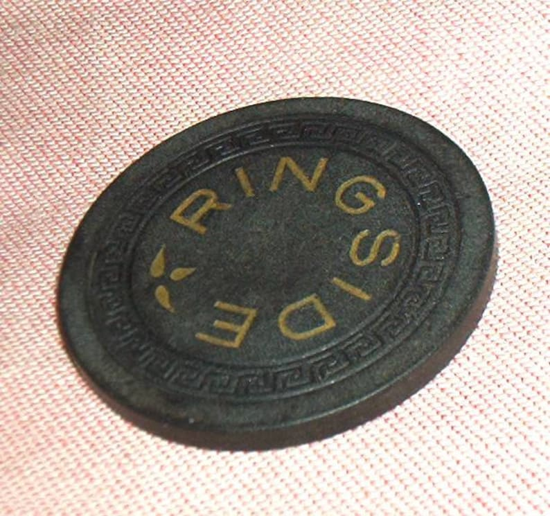 Vintage, East St  Louis Ringside Casino POKER CHIP, Dollar Size, Printed  two-sides, 1950's, EXC +