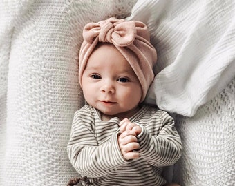 Blush Knit Hat   w top knot bow  (Sweater) baby turban b381d3294fc