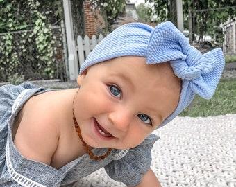 Carolina Blue Textured: Top Knot Headband