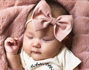 Blush Linen : Baby Bow