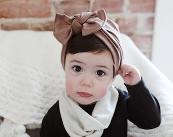 a6abf69aa4d Mocha Hat  ( jersey ) with XL flatbow - baby turban hat