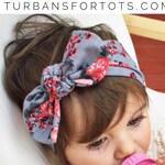 Gray floral top knot headband